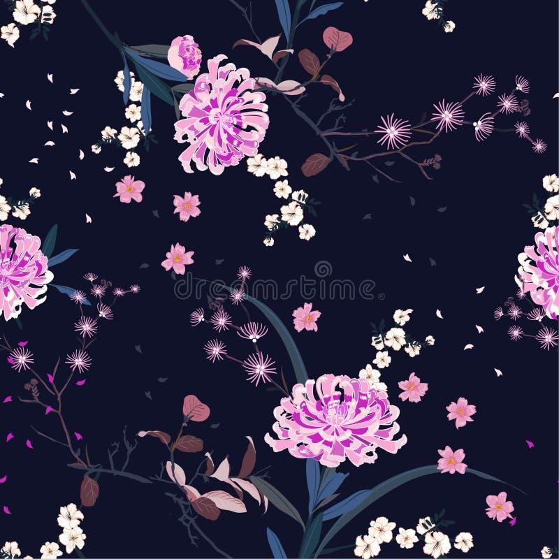 Fiore orientale del giardino di vettore senza cuciture del modello con la fioritura botanica e la progettazione floreale del bloo illustrazione vettoriale