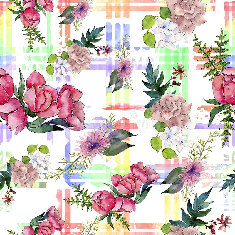Fiore rosa del mazzo dell'acquerello Fiore botanico floreale Modello senza cuciture del fondo illustrazione vettoriale