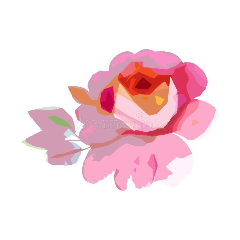 Fiore rosa del Wildflower in uno stile di vettore isolato illustrazione di stock