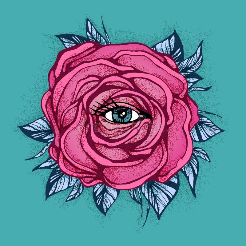 Fiore rosa di Rosa del tatuaggio con l'occhio su fondo blu Progettazione del tatuaggio, simbolo mistico Nuovo dotwork della scuol illustrazione vettoriale
