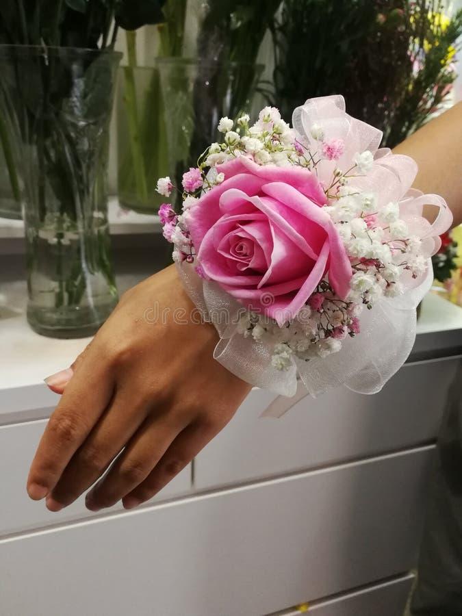 fiore rosa di nozze del corpetto del polso del corpetto immagine stock libera da diritti