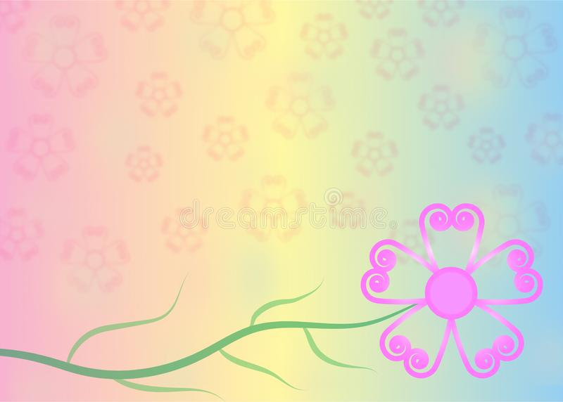 Fiore rosa nel fondo di colori pastelli illustrazione di stock