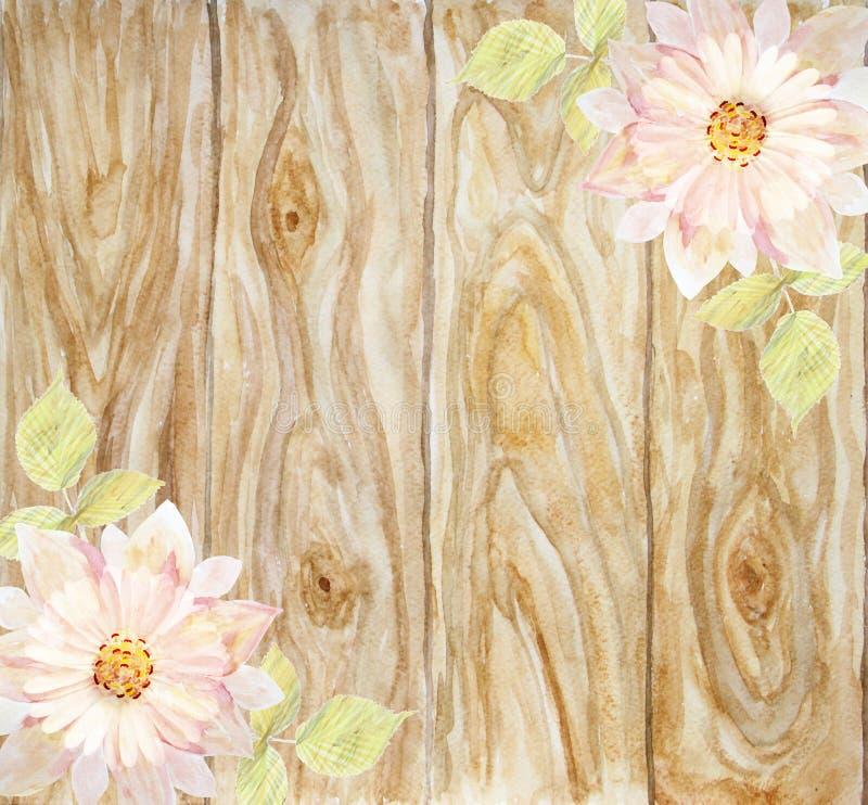Fiore rosa scenico su un fondo dei bordi di legno handmade illustrazione di stock