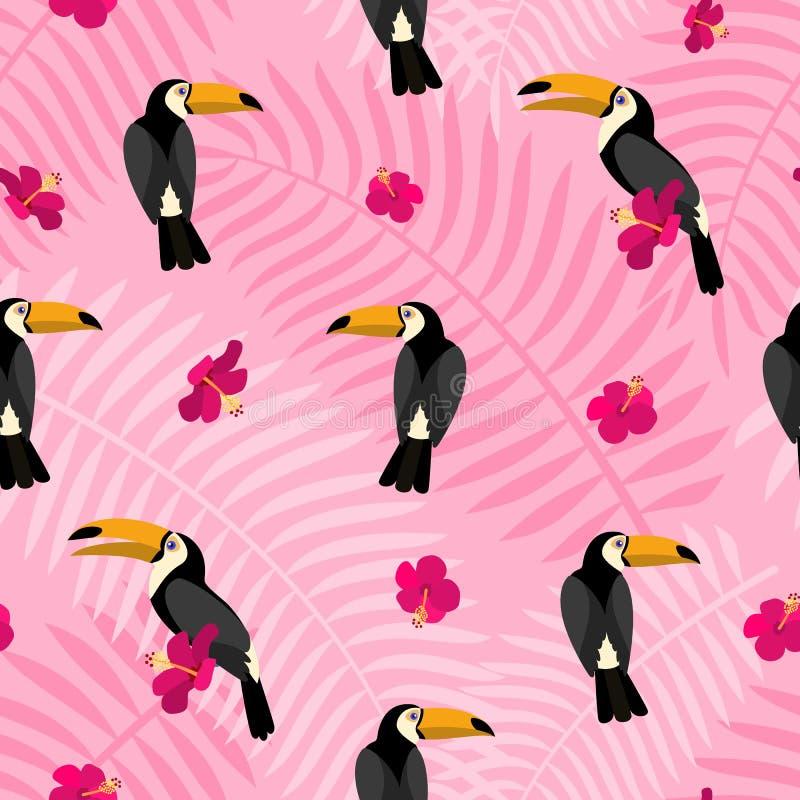 Fiore rosa sul modello del tucano dell'uccello, stile piano illustrazione di stock
