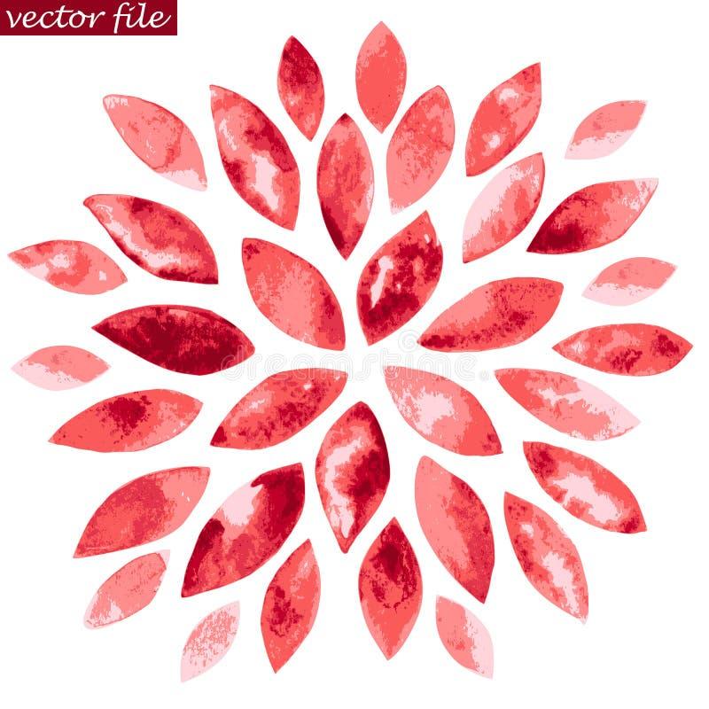 Fiore rosso dello sprazzo di sole dell'acquerello illustrazione di stock