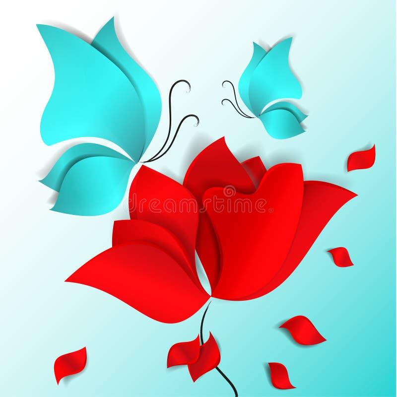 fiore rosso di stile Carta tagliato, farfalle blu e petali di volo 3D vettore, carta, giorno, felice, molla, estate, amore, flora illustrazione vettoriale