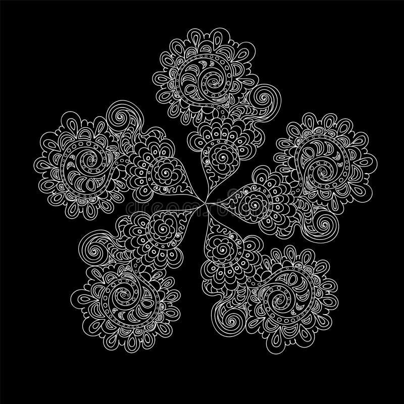 Fiore scritto a mano di bello vettore con i petali ornamentali calcolati illustrazione vettoriale