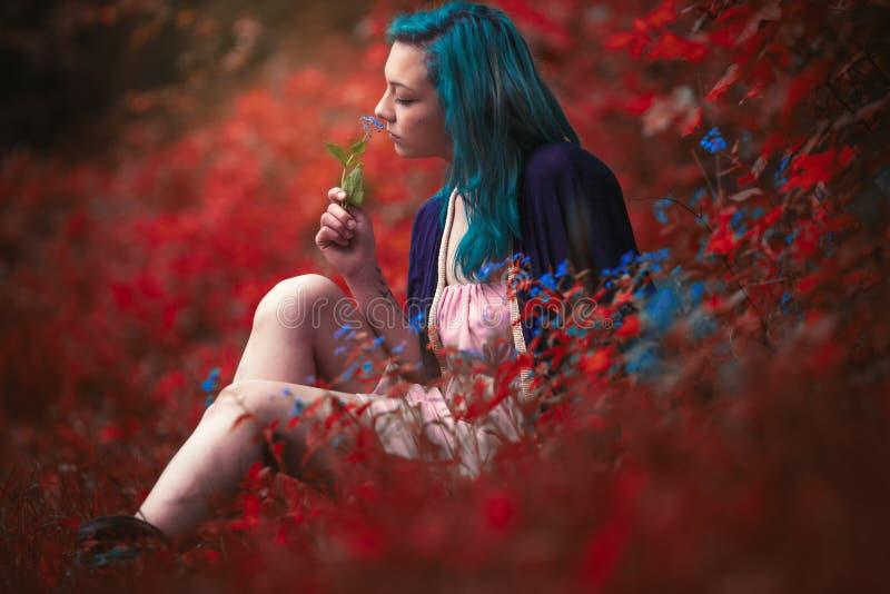 Fiore sentente l'odore immagini stock libere da diritti