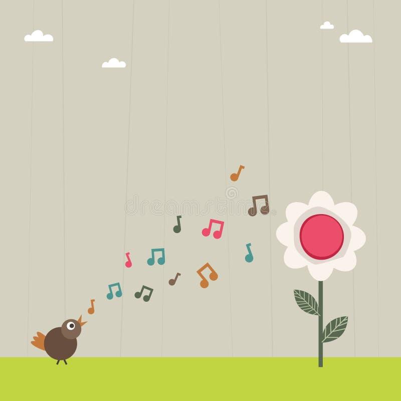 Fiore serenading dell'uccello illustrazione di stock