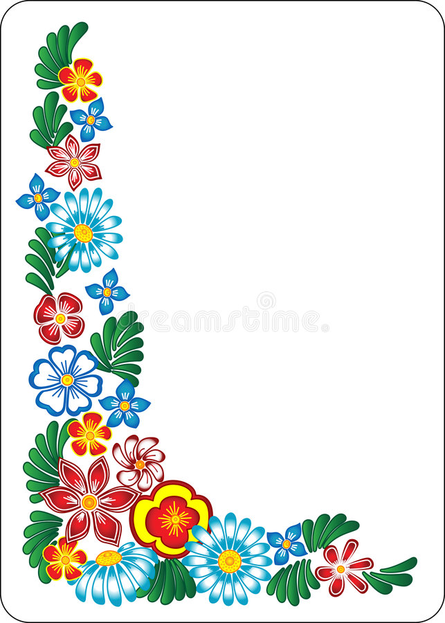 Fiore su priorità bassa bianca. Angolo. royalty illustrazione gratis