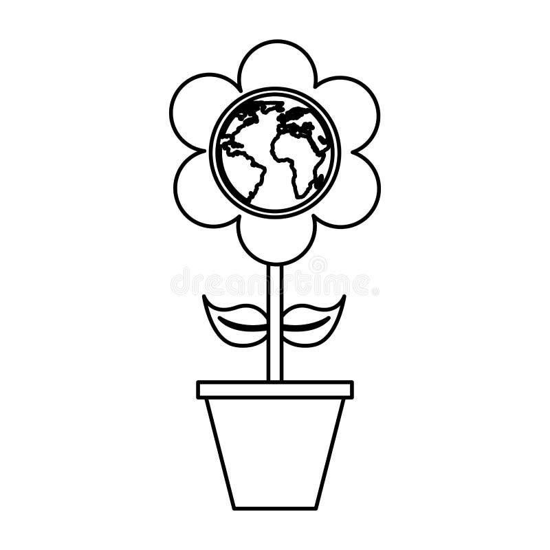fiore sveglio con il pianeta della terra illustrazione vettoriale