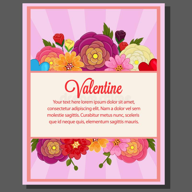 Fiore sveglio del ranuncolo del manifesto di tema del biglietto di S. Valentino illustrazione vettoriale