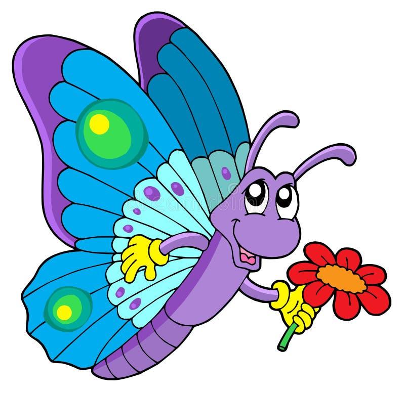 Fiore sveglio della holding della farfalla illustrazione di stock