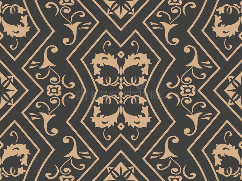 Fiore trasversale della foglia di vite della catena della struttura della retro del modello del damasco di vettore del fondo del  royalty illustrazione gratis