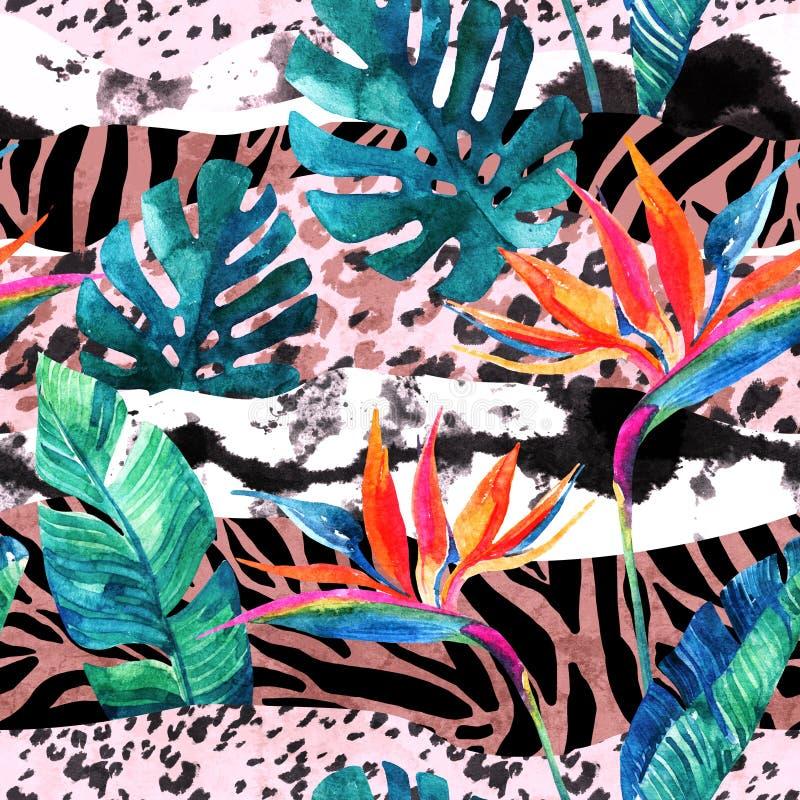 Fiore tropicale di uccello-de-Paradise dell'acquerello e foglie tropicali sul fondo animale a strisce della stampa fotografia stock