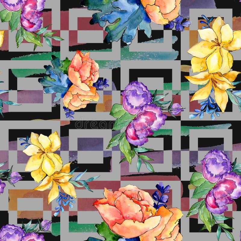 Fiore variopinto del mazzo dell'acquerello Fiore botanico floreale Modello senza cuciture del fondo illustrazione di stock