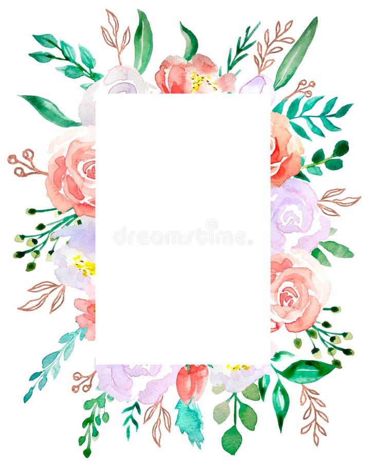 Fiore variopinto del mazzo dell'acquerello Fiore botanico floreale Quadrato dell'ornamento del confine della pagina Wildflower de illustrazione vettoriale