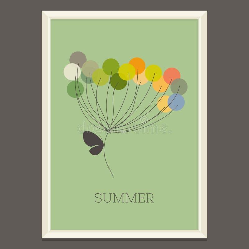 Fiore variopinto di estate con la farfalla. Vettore royalty illustrazione gratis