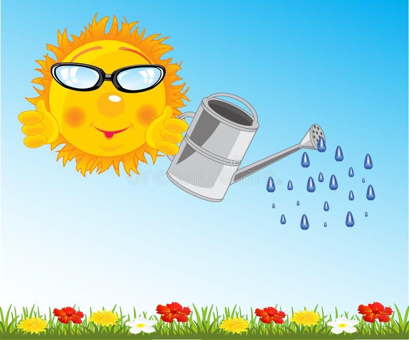 Fiore waterring del sole dell'illustrazione di vettore sulla radura illustrazione vettoriale