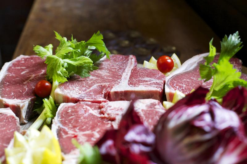 Fiorentina steak on wood royalty free stock photography