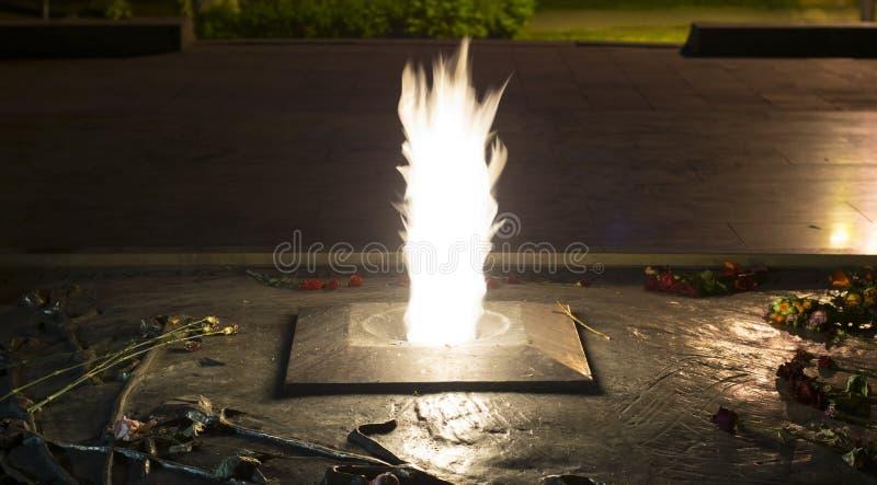 Fiori alla fiamma eterna, memoriale di guerra immagini stock