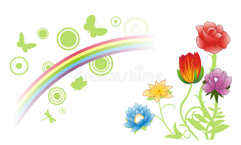 Fiori & Rainbow di estate illustrazione vettoriale