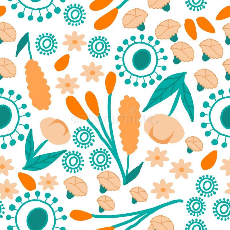 Fiori arancio e foglie verdi pastelli, modello ripetuto illustrazione vettoriale