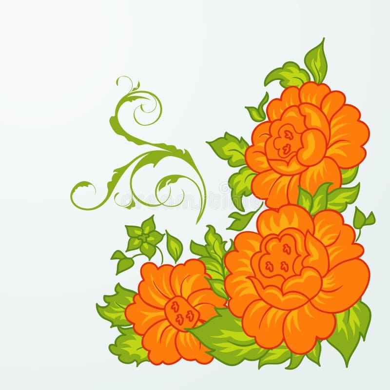 Fiori arancioni svegli isolati illustrazione di stock