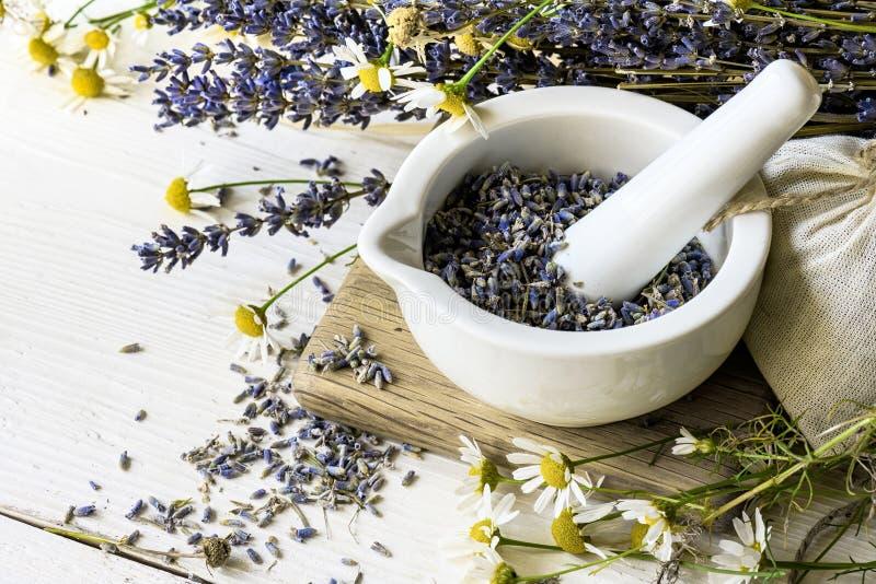 Fiori asciutti della lavanda in mortaio bianco su fondo di legno bianco Fondo della medicina di erbe immagine stock