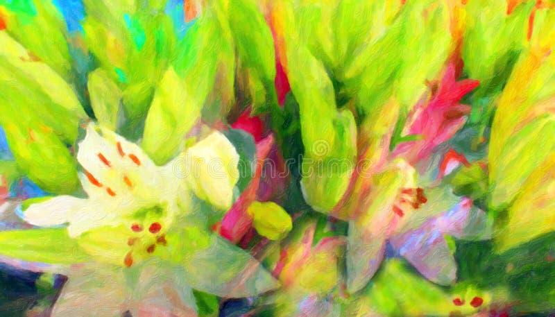 Fiori astratti Colourful, stile della pittura a olio illustrazione vettoriale