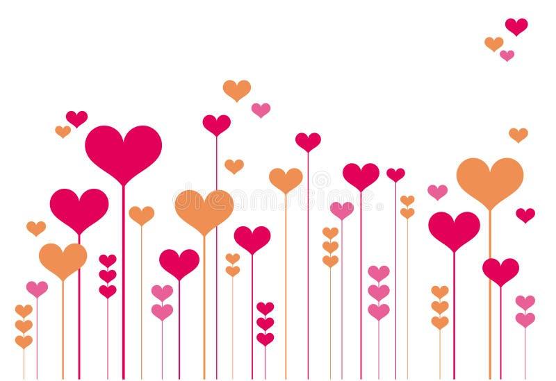 Fiori astratti del cuore illustrazione vettoriale