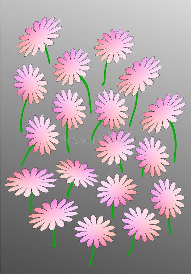 Fiori astratti rosa su un fondo grigio fotografie stock libere da diritti