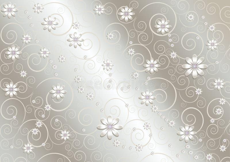 Fiori bianchi e linee torte sul fondo di gray del raso illustrazione vettoriale