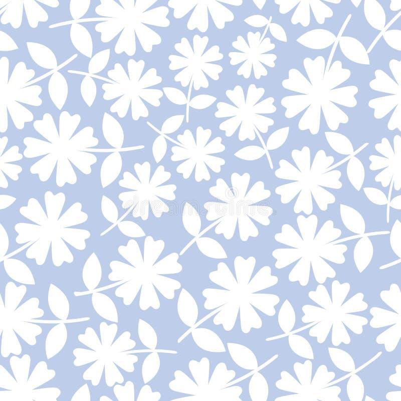 Fiori bianchi eleganti nella progettazione floreale ditsy Modello senza cuciture di vettore su fondo blu-chiaro Grande per il ben illustrazione vettoriale