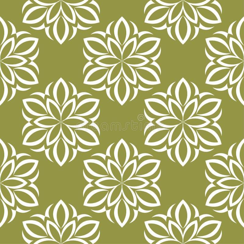 Fiori bianchi sul fondo di verde verde oliva Reticolo senza giunte ornamentale illustrazione di stock