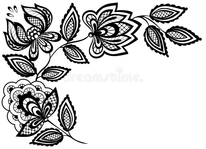 Fiori in bianco e nero e foglie del pizzo isolati su bianco illustrazione di stock