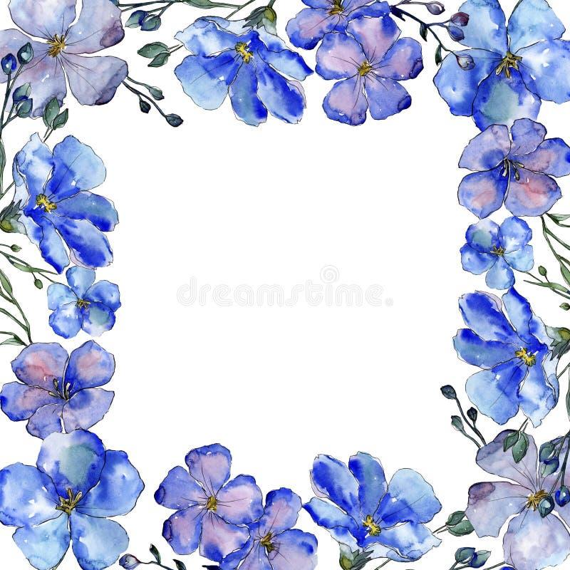 Fiori blu del lino dell'acquerello Fiore botanico floreale Quadrato dell'ornamento del confine della pagina illustrazione di stock