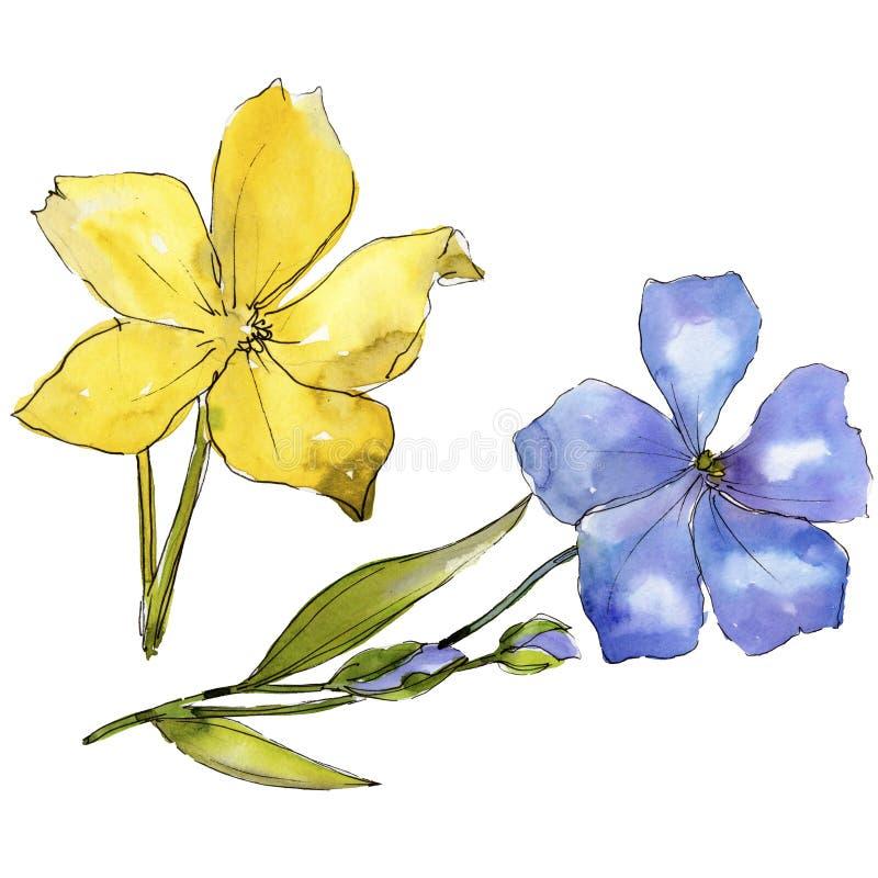 Fiori blu e gialli dell'acquerello del lino Fiore botanico floreale Elemento isolato dell'illustrazione illustrazione vettoriale