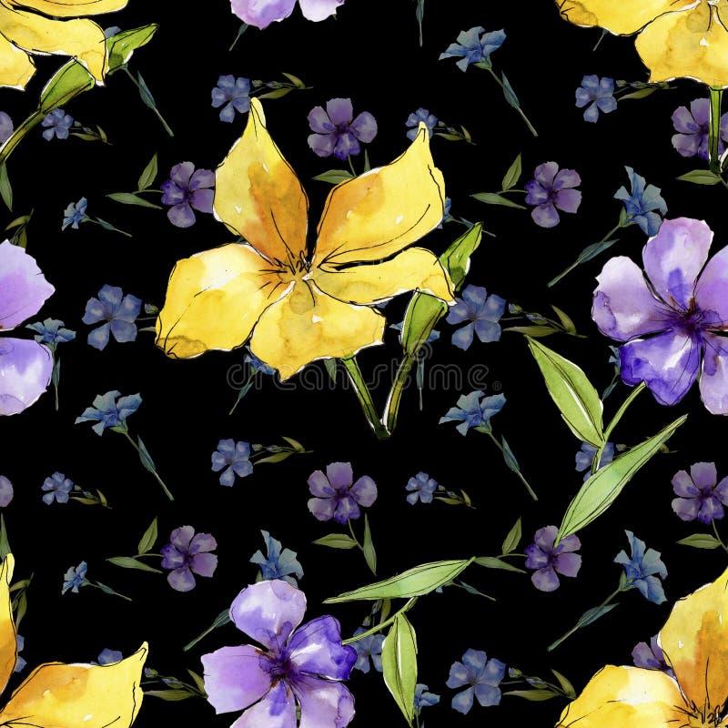 Fiori blu e gialli dell'acquerello del lino Fiore botanico floreale Modello senza cuciture del fondo illustrazione vettoriale