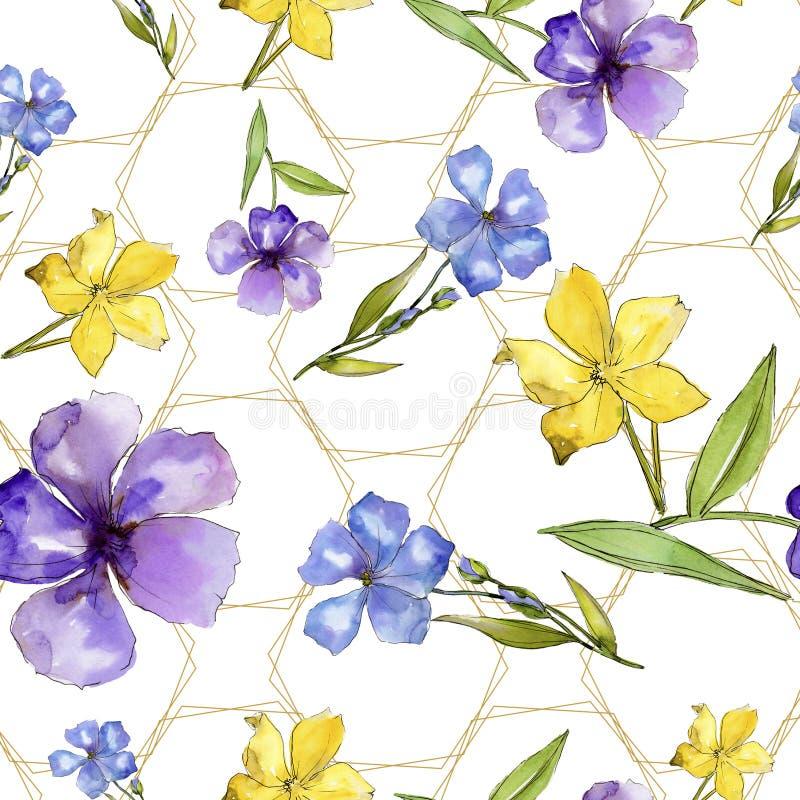Fiori blu e gialli dell'acquerello del lino Fiore botanico floreale Modello senza cuciture del fondo royalty illustrazione gratis
