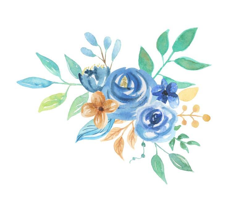 Fiori blu floreali di nozze di disposizione delle foglie delle bacche dell'acquerello illustrazione vettoriale
