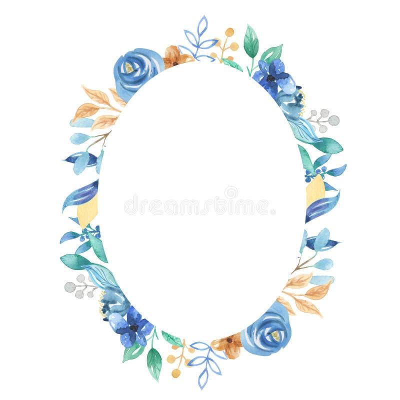 Fiori blu ovali floreali di nozze della struttura delle foglie delle bacche dell'acquerello illustrazione di stock
