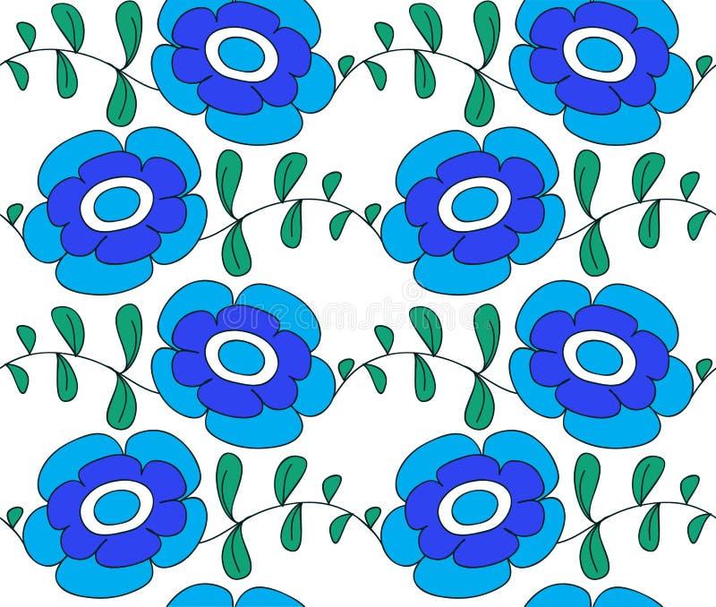 Fiori blu su una priorità bassa bianca, illustrazione a fotografie stock libere da diritti