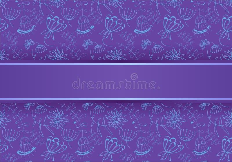 fiori blu su una priorità bassa viola, illustrazione immagine stock libera da diritti