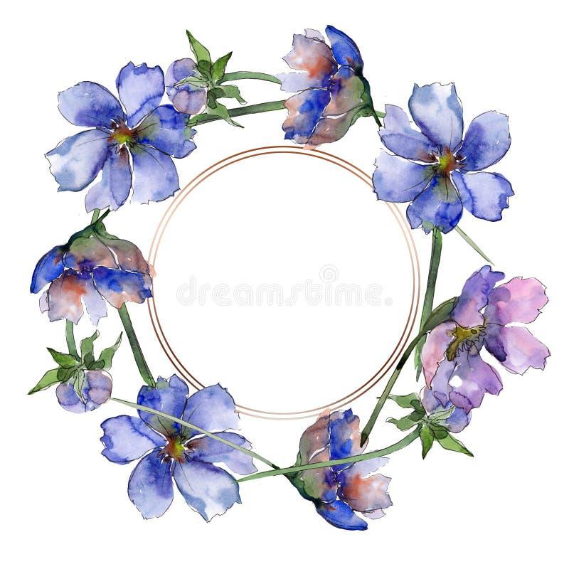 Fiori botanici floreali del fiore viola dell'universo Insieme dell'illustrazione del fondo dell'acquerello Quadrato dell'ornament royalty illustrazione gratis