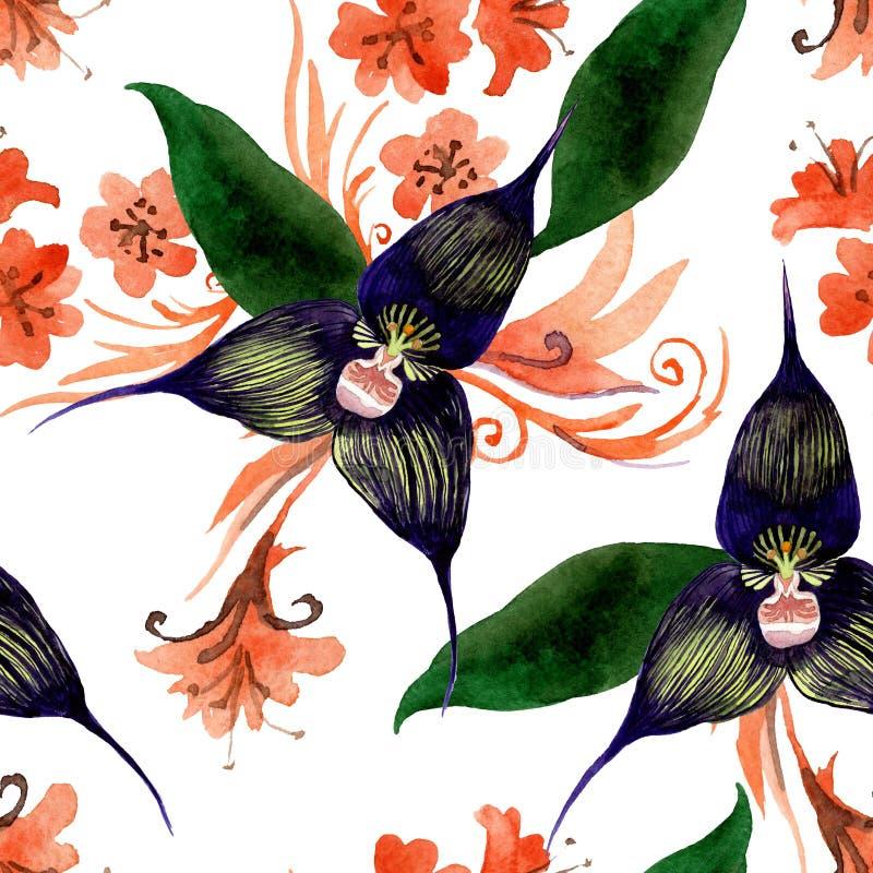 Fiori botanici floreali dell'orchidea nera Insieme dell'illustrazione del fondo dell'acquerello Modello senza cuciture del fondo illustrazione vettoriale