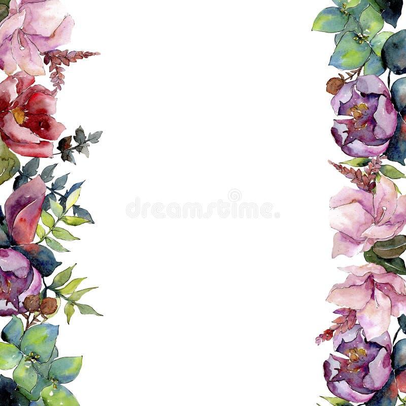 Fiori botanici floreali della composizione nel mazzo Insieme dell'illustrazione del fondo dell'acquerello Quadrato dell'ornamento fotografia stock