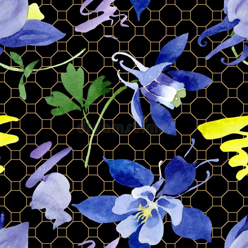 Fiori botanici floreali di aquilegia blu Insieme dell'illustrazione del fondo dell'acquerello Modello senza cuciture del fondo illustrazione vettoriale