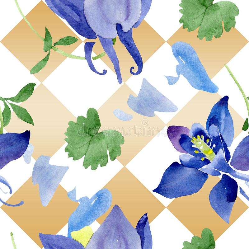 Fiori botanici floreali di aquilegia blu Insieme dell'illustrazione del fondo dell'acquerello Modello senza cuciture del fondo royalty illustrazione gratis