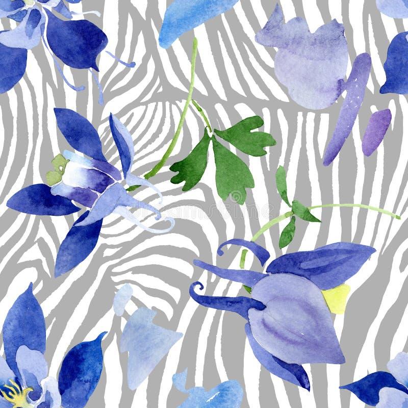 Fiori botanici floreali di aquilegia blu Insieme dell'illustrazione del fondo dell'acquerello Modello senza cuciture del fondo illustrazione di stock